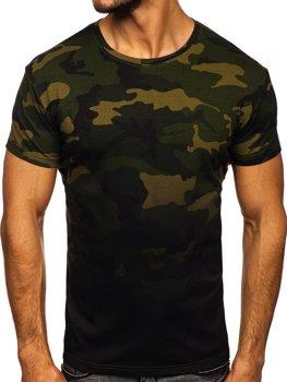 Khaki t-shirt męski z nadrukiem moro Denley S808