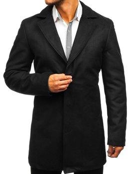 Klasyczny jednorzędowy płaszcz męski zimowy czarny Denley 5438