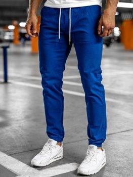 Kobaltowe spodnie męskie joggery Denley 1145