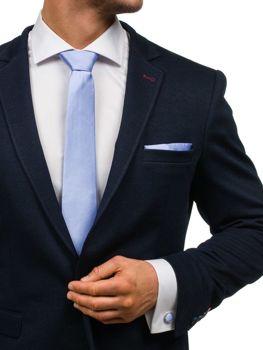 Komplet męski krawat, spinki, poszetka jasnofioletowy Denley KSP01