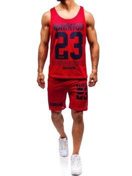 Komplet męski t-shirt + spodenki Denley czerwony 100778