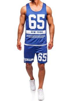 Komplet męski t-shirt + spodenki Denley niebieski 100777
