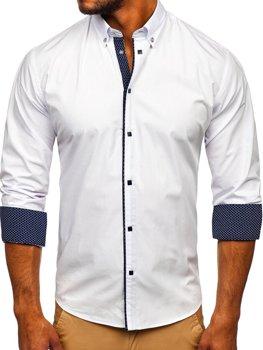 Koszula męska elegancka z długim rękawem biała Bolf 7724