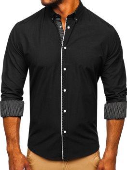 Koszula męska elegancka z długim rękawem czarna Bolf 7724