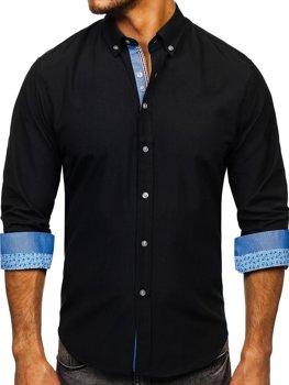 Koszula męska elegancka z długim rękawem czarna Bolf 8838-1