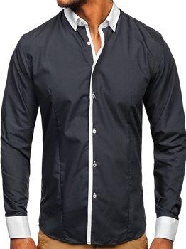 Koszula męska elegancka z długim rękawem grafitowa Bolf 2782