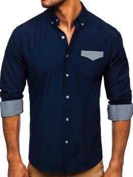 Koszula męska elegancka z długim rękawem granatowa Bolf 4711
