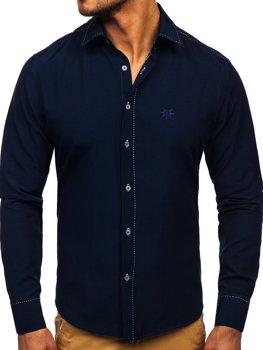 Koszula męska elegancka z długim rękawem granatowa Bolf 4719