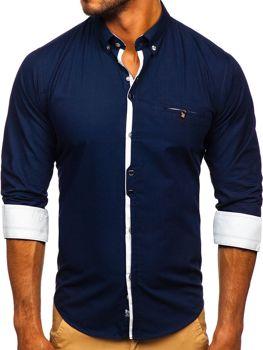 Koszula męska elegancka z długim rękawem granatowa Bolf 7720
