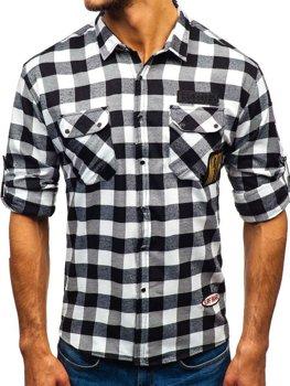 Koszula męska flanelowa z długim rękawem czarna Denley 2503