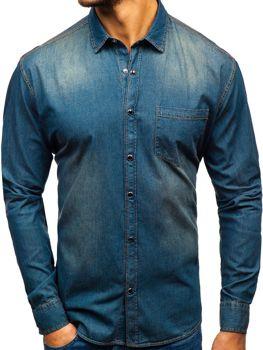 Koszula męska jeansowa z długim rękawem granatowo-szara Denley 1316