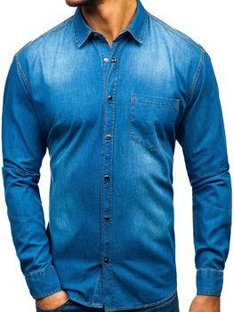 Koszula męska jeansowa z długim rękawem niebieska Denley 1316