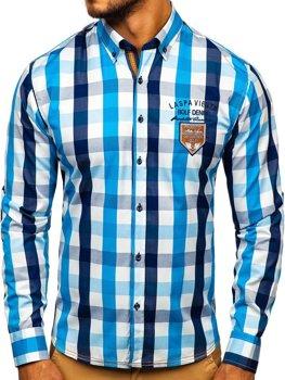 Koszula męska w kratę kratka kolorowa niebiesko żółta