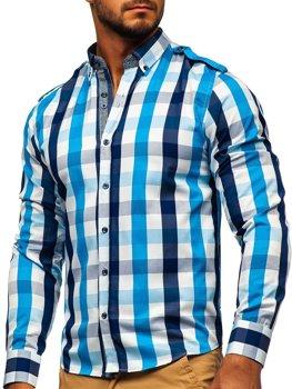 Koszula męska w kratę z długim rękawem błękitna Bolf 2779