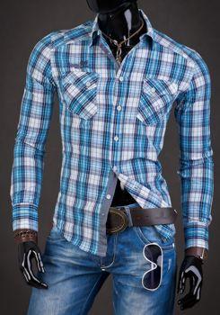 Koszula męska w kratkę z długim rękawem niebieska Denley R010