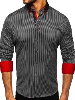 Koszula męska w paski z długim rękawem czarna Bolf 2751