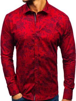Koszula męska we wzory z długim rękawem czerwona 470G19