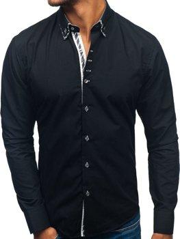 Koszula męska z długim rękawem czarna Bolf 3762