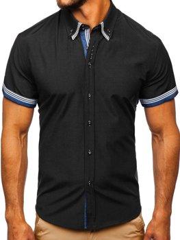 Koszula męska z krótkim rękawem czarna Bolf 2911
