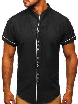 Koszula męska z krótkim rękawem czarna Bolf 5518