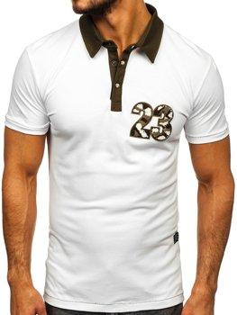 Koszulka polo męska biały Denley 2058
