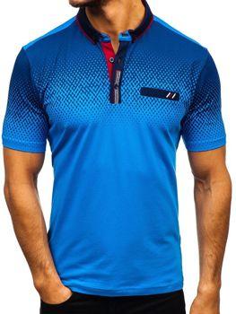 Koszulka polo męska niebieska Denley 6599