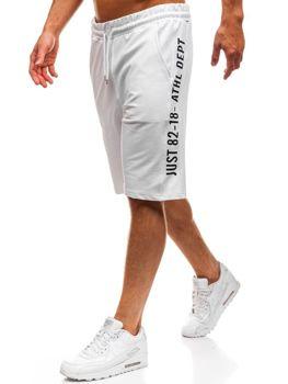 Krótkie spodenki dresowe męskie białe Denley 2004