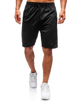 Krótkie spodenki dresowe męskie czarne Denley DK02