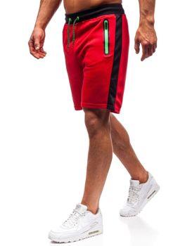 Krótkie spodenki dresowe męskie czerwone Denley 81003