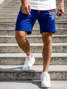 Krótkie spodenki dresowe męskie niebieskie Denley EX07