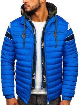 Kurtka męska przejściowa sportowa pikowana niebieska Denley 50A465