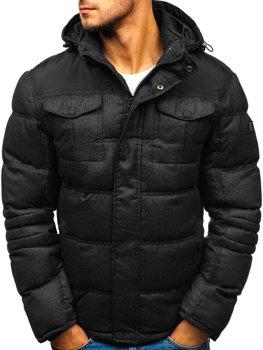 Kurtka męska zimowa sportowa czarna Denley AB104