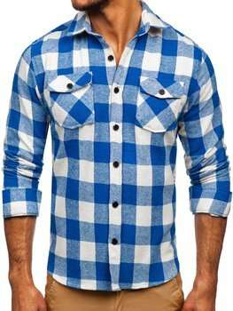 Niebieska koszula męska flanelowa z długim rękawem Denley 20723