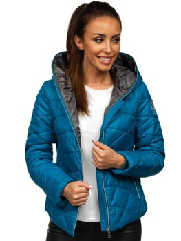 Niebieska pikowana kurtka damska zimowa z kapturem Denley A5701