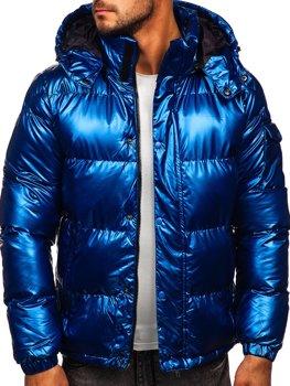 Niebieska pikowana kurtka męska zimowa Denley 1165