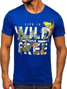 Niebieski T-shirt męski z nadrukiem Denley KS2550