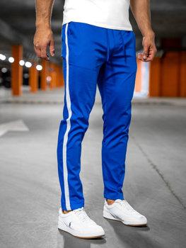 Niebieskie spodnie materiałowe joggery męskie Denley 0013
