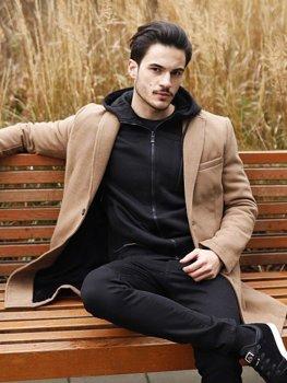 Płaszcz męski zimowy camelowy Denley 1047B