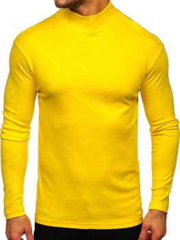 Półgolf męski bez nadruku żółty Denley 145348