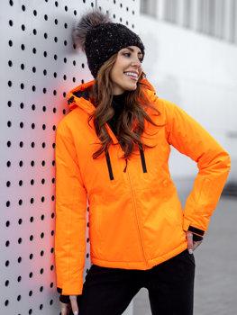 Pomarańczowa kurtka zimowa narciarska damska Denley HH012