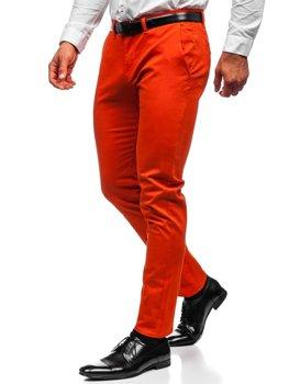 Pomarańczowe spodnie chinosy męskie Denley 1143