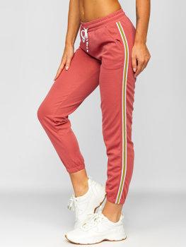 Różowe spodnie dresowe damskie Denley YW01020B