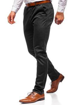 Spodnie chinosy męskie czarne Denley KA968