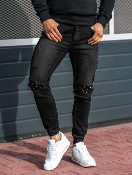 Spodnie jeansowe joggery męskie antracytowe Denley 2044-1