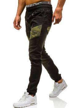 Spodnie jeansowe joggery męskie czarne Denley 0809