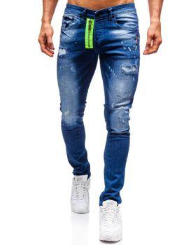 Spodnie jeansowe męskie granatowe Denley 9236