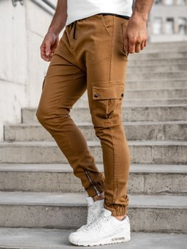 Spodnie joggery bojówki męskie camelowe Bolf 0858