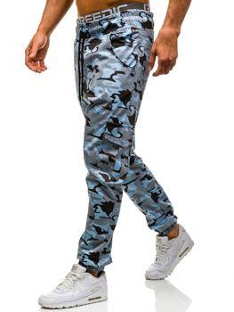 Spodnie joggery bojówki męskie moro-niebieskie Denley 0404