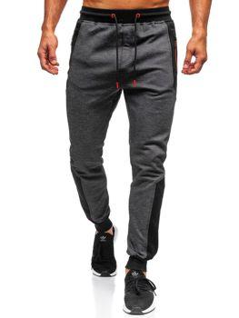 Spodnie męskie dresowe czarne Denley TC849