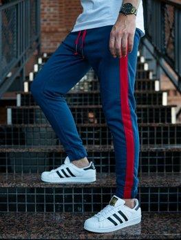 Spodnie męskie dresowe joggery indygo Denley 11120